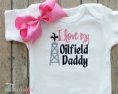 Oilfield Daddy Bodysuit or Tee With Matching Bow - Baby Girls Embroidered Clothing - Boutique - Over The Top - Oil