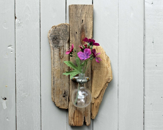 Wall Sconces Driftwood : Driftwood Wall Sconce Vase With Upcycled Chemistry Glass