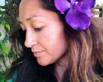 Single orchid hair clip