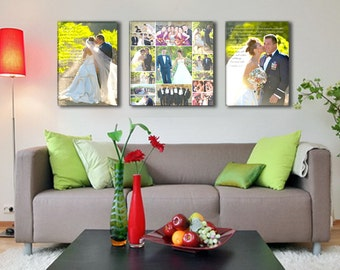 Large Triple Canvas with Center Collage of Wedding Photos, Includes Wedding Vows