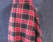 Vintage Handmade Wool Plaid Swing Skirt - XL