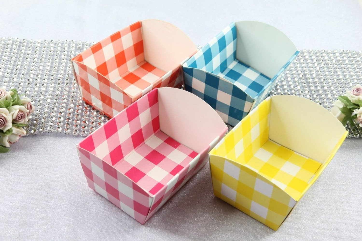 Mini Paper Candy Cup : Checker mini paper candy cups cookie nut tray holders party