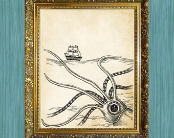 Squid and Boat Print 8 x 10 Sea Life Art Print Seaside Art Print Sealife Art Print Natural History Print