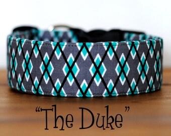 """Grey & Turquoise Argyle Dog Collar """"The Duke"""""""