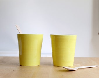 Yellow tall cup set Two ceramic cups Lemonade cups Wheel thrown yellow cups - Ready to ship