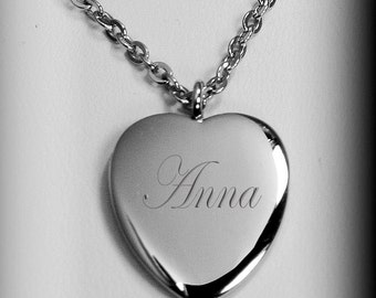 Silver Heart Necklace, Personalized Elegant Silver Heart Necklace Custom Engraved Free, Personalized Necklaces, 25th Anniversary Gifts