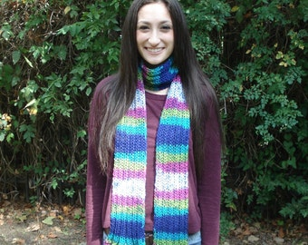 Striped Neon Multi-Color Scarf with Flared Ends