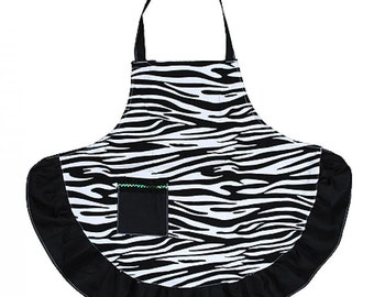 Personalized  Adult Zebra Apron with Black Accents ZEB385-BLACK
