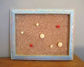 Aqua/Yellow/Red Distressed Framed Bulletin Board with Flower Cabochon Pushpins
