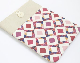 "Berry Pink Geometric Laptop Sleeve, 14"" Laptop case, 15"" Laptop Cover, Custom 17"" Laptop case, Padded 13"" Laptop Sleeve case, front pocket"