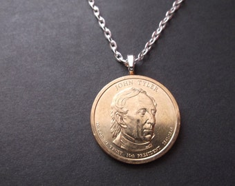 John Tyler United States Gold Colored Dollar Coin Necklace -  United States Gold Colored John Tyler  Dollar Pendant