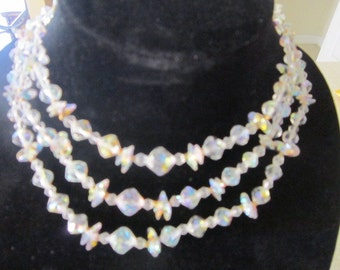 Beautiful Vintage Cut Glass Crystal 3 Strand Necklace