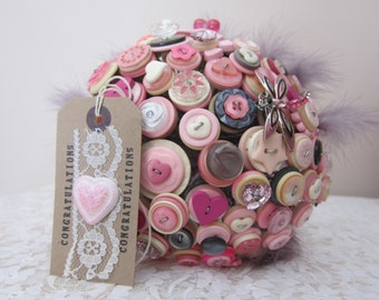 Pink and Silver Button Bouquet