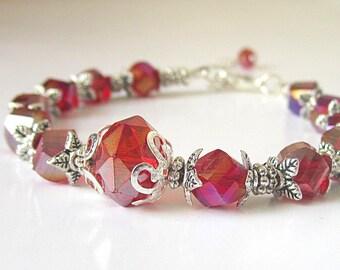 Red Crystal Wedding Jewellery, Bridesmaid Bracelet, Red Wedding, Red and Silver, Bridesmaid Gift, Wedding Jewellery, Czech Crystal