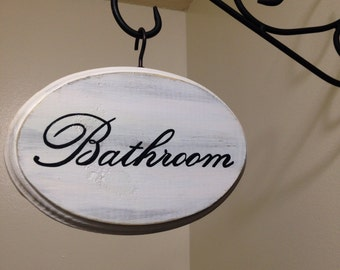 "Adorable Bathroom Sign (white) (5x7"")"