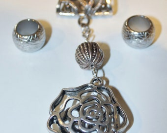 Silver plated scarf slide with hollow flower pendant attached-optional scarf rings