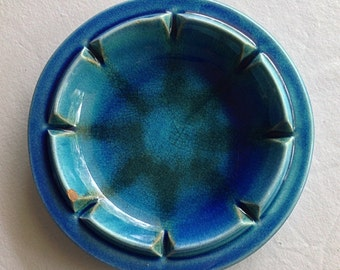 Vintage Royal Haeger Blue Ceramic Ashtray