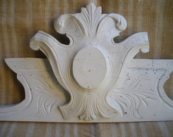 Wood carved fronton shelf antique norman cupboard medalion white painted french country window  decor acanthus leaves wall hanging 19th