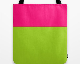 Pink and green color block tote bag