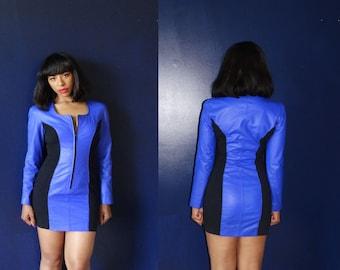 Vintage  Leather Chia Bodycon Mini Dress