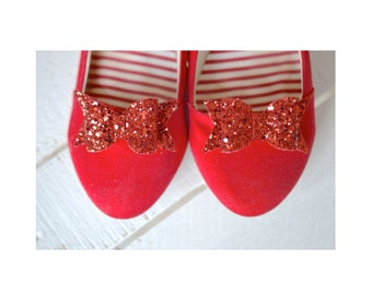Red Bow Shoe Slips, Red Glitter Bow Shoe Clips, Electric Red Wedding Shoeclips, Flowergirl Shoes Clip
