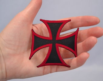 Iron-On Iron Cross Patch Red and Black