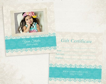Photography Gift Certificate photoshop template 014- ID0176, Instant Download