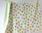 SALE Large Baby/Toddler Blanket, Colorful Owls with Mint Minky Dot, Ready to Ship