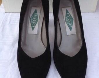 Vintage Black Suede Shoes LONDON BOND ST