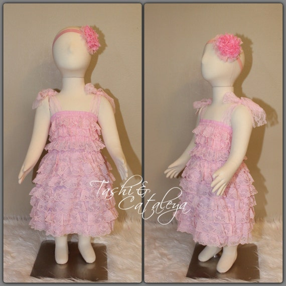 Items similar to Baby Pink lace Dress with matching