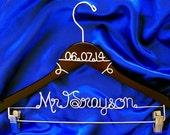 Wedding Hanger,Wedding Hanger with Skirt Clips, Wedding Hanger With Pant Clips, Brides Hanger, Bride, Name Hanger, Bridal Accessory