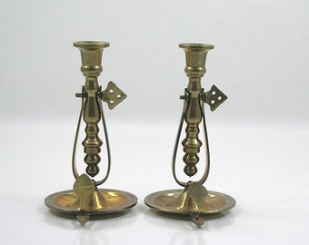 Brass Candle Holder Pair