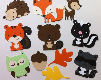 Set of 11 Woodland Animals - Deer, Owl, Squirrel, Skunk, Beaver, Hedgehog, Fox, Raccoon, Acorn & Leaves