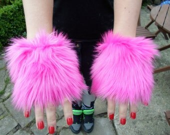 One Luxury Pair of Hot Pink Furry Wrist Cuffs Wristlets Cute Cosy Cosplay Elasticated Winter