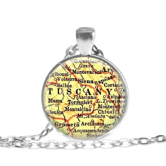 Tuscany Italy necklace, Italian map jewelry, Voterra, Italy map necklace pendant charm, Italian jewelry, custom italian locations, A189