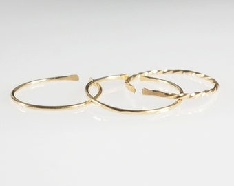 3 Gold Rings . Delicate Gold ring . Dainty Gold filled rings . Minimalist Thin Hammered Band