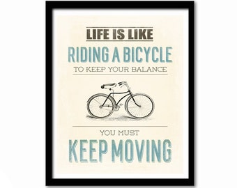 Bike Poster, Albert Einstein Quote, Inspirational Quote, Bike Print, Cream and Blue, Life is Like Riding a Bicycle, Leaving Gift