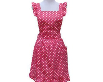 New Beautiful Handmade full apron dress  for kitchen aprons  fashion red Accessories