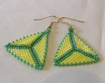 Handwoven Yellow Green Herringbone Peyote Stitch Triangle Earrings