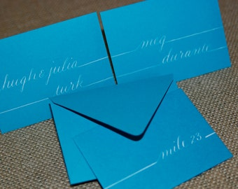 Escort Cards with Mini Envelopes - Hand Calligraphy - Invitations, Table Numbers, Seating Charts, Menus & Envelope Addressing Also Available