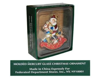 Macy's Santa on a Rocking Horse Christmas Ornament