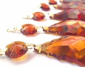 5 Amber 50mm French Cut Chandelier Crystals Pendalogue Baroque Prisms