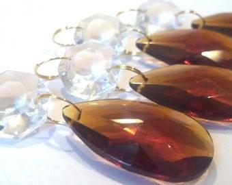 5 Amber Teardrop Chandelier Crystals Diamond Cut Octagon