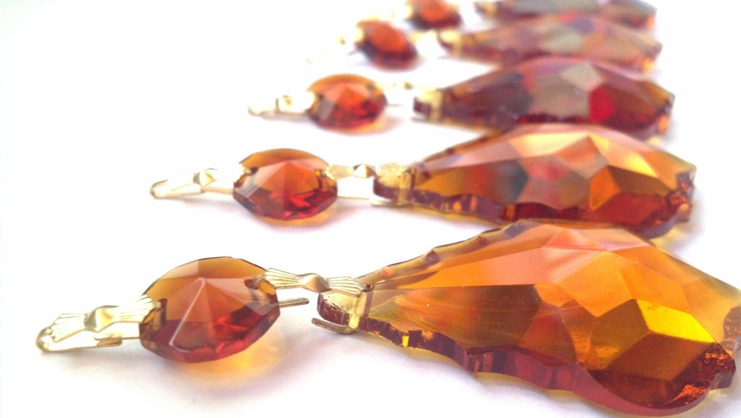 5 Amber 50mm French Cut Chandelier Crystals Pendalogue Prisms