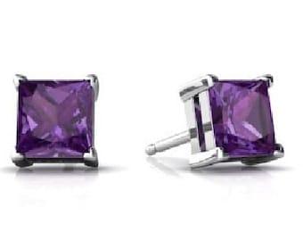 2 Carat Amethyst Princess Cut Stud Earrings .925 Sterling Silver Rhodium Finish
