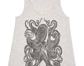 Ocean Octopus Tank Top - Women's American Apparel Tri Blend Racerback Tank Top - Black Print - XS S M L