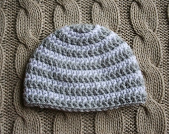 Cute Crochet Knit Gray Grey and White Stripes Newborn Infant Baby Girl or Boy Beanie Hat, Ready to Ship