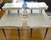 Pair of Tiered Laminate End Tables