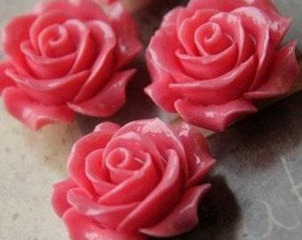 6 pcs of resin rose w/hole 28mm diameter-RC0283-13-dark pink-shinny