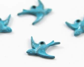 12 pcs or 6 pairs of blue bird one loop charm 15x18mm- 1147-blue